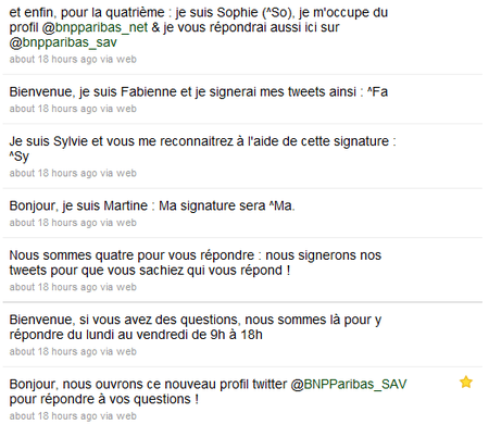 BNPParibas-Twitter-SupportClientSAV-FirstTweets-3November2010